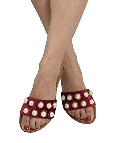 Red Womens Pearl Studded Sandals Slides US