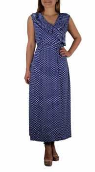Blue Polka Dot Vintage Maxi Dress