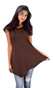Peach Couture Womens Pure Cotton Summer Tank Top Tunic Handkerchief Hem Shirt (Small, Brown)