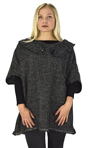 Womens Relaxed Fit Marled Chunky Knit Pullover Sweater Ruffle Neck