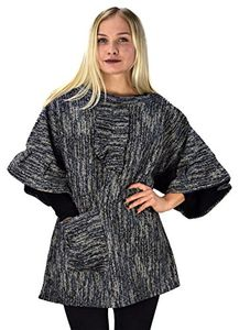 Womens Relaxed Fit Marled Chunky Knit Pullover Sweater W/ Pocket