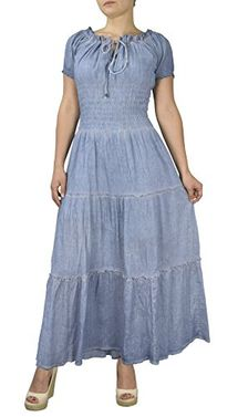 Light Denim Womens Renaissance Vintage 100% Cotton Smocked Gypsy Tank Dress (Large)