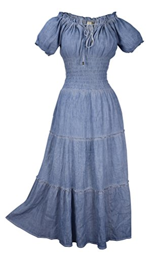Peach Couture Womens Renaissance Vintage 100% Cotton Smocked Gypsy Tank Dress (Light Denim)