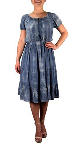 Renaissance Vintage Smocked Gypsy Tank Dress (Small, Denim Knee Length)