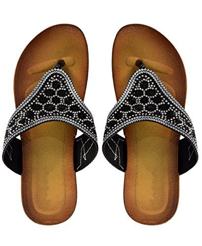 Black Peach Couture Womens Rhinestone Embellished Thong Flat Slides Summer Sandals US