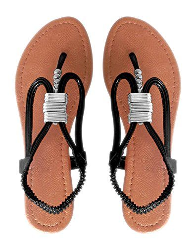 Peach Couture Womens Roman Slingback T-Strap Beaded Strappy Sandal 1 inch Wedge Black