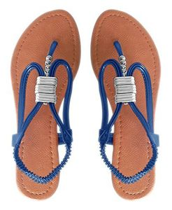 Blue Womens Roman Slingback T-Strap Beaded Strappy Sandal 1 inch Wedge