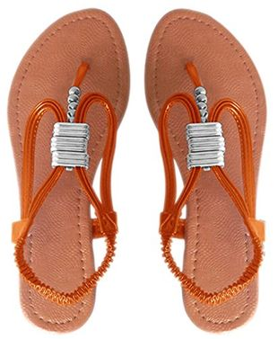 Orange Womens Roman Slingback T-Strap Beaded Strappy Sandal 1 inch Wedge, 6