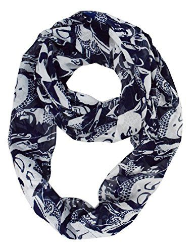 Navy Bohemian Buddha Tribal Infinity Circle Scarf Loop