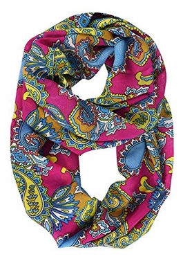 Fuchsia Tribal Scarf Paisley Scarf Floral Scarf Bohemian Sheer Circle Infinity Scarf