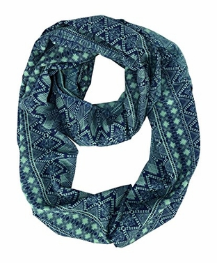 Teal Bohemian Tribal Aztec Infinity Scarf Circle Scarf