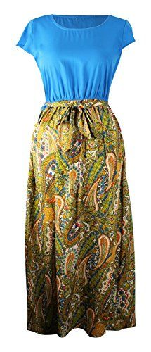 Blue Short Sleeve Paisley Print Skirt Casual Long Dress