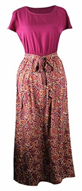 Burgundy Short Sleeve Paisley Print Skirt Casual Long Dress
