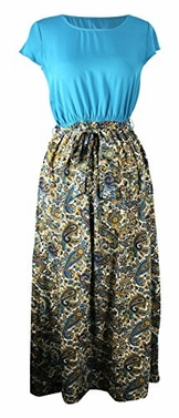 Teal Short Sleeve Paisley Print Skirt Casual Long Dress