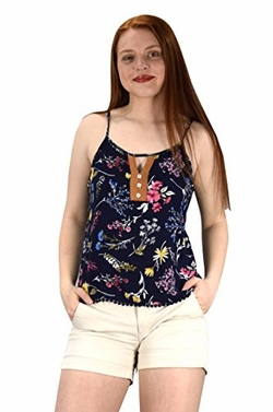 Navy Womens Sleeveless Button Up Floral Print Summer Blouse Top Shirt