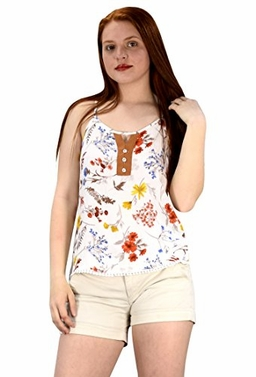 White Womens Sleeveless Button Up Floral Print Summer Blouse Top Shirt