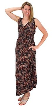 Brown Womens Sleeveless Exoctic Floral Print Plus Size Maxi Dress 2X