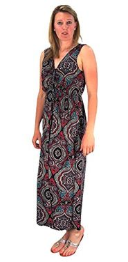 Red Black Womens Sleeveless Exoctic Floral Print Plus Size Maxi Dress