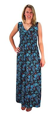 Turquoise Womens Sleeveless Exoctic Floral Print Plus Size Maxi Dress 2X