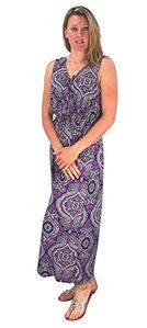 Peach Couture Womens Sleeveless Exoctic Floral Print Plus Size Maxi Dress Violet