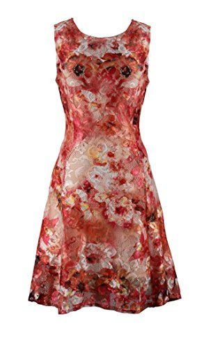 Womens Sleeveless Lace Floral Skater Cocktail Midi Dress Medium