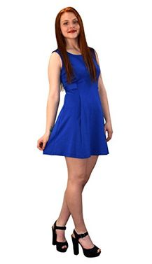 Blue Women's Solid Color Sleeveless Princess Seam A line Dress