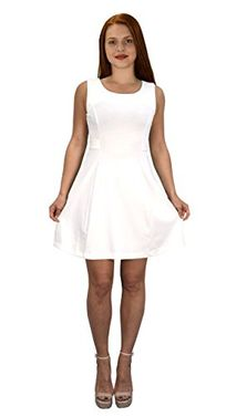 White Women's Solid Color Sleeveless Princess Seam A Line Dress