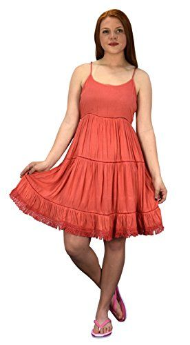 Peach Couture Womens Spaghetti Strap Tiered A Line Dress With Fringed Hem Coral