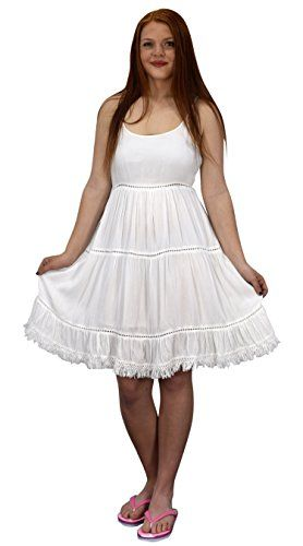 White Womens Spaghetti Strap Tiered A Line Dress With Fringed Hem Large
