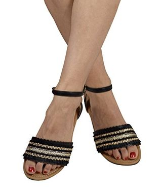 Black Womens Strappy Ankle Buckle Open Toe Rhinestone Band Sandals US