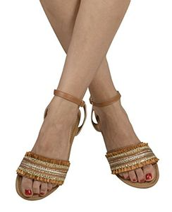 Tan Womens Strappy Ankle Buckle Open Toe Rhinestone Band Sandals US