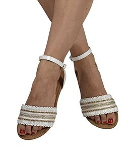 White Womens Strappy Ankle Buckle Open Toe Rhinestone Band Sandals 8 B(M) US