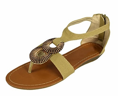 Khaki Womens Strappy Wedge Heel Canvas Style Colorful Threaded Accent Sandals (8)