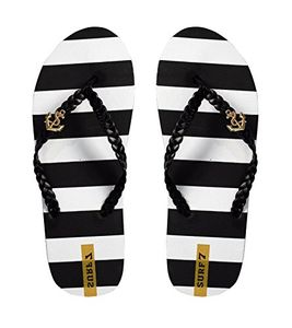 Black Womens Striped Nautical Anchor Strappy Sandals Flats Flip Flops 6 B(M) US