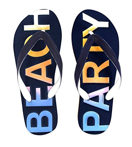 Navy Womens Summer Beach Embossed Flip Flops Casual Strappy Slip ONS 9