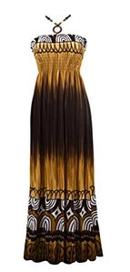 Peach Couture Womens Summer Boho Tie Dye Halter Vacation Cruise Beach Maxi Dress Brown Large
