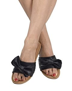 Black Womens Summer Bow Accent Sandals Slides Flip Flops US