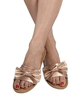 Champagne Womens Summer Bow Accent Sandals Slides Flip Flops US