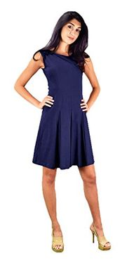 Blue Summer Cotton Pleated Sleeveless Princess Seam Dress (Small)