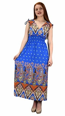 Blue Women's Summer Exotic Floral Bohemian Tahiti Sleeveless Maxi Dress Polka Dot
