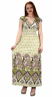 Cream Olive Womens Summer Exotic Floral Bohemian Tahiti Sleeveless Maxi Dress Polka Dot