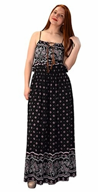 Black Summer Exotic Floral Bohemian Tahiti Sleeveless Maxi Dress Tie Neck