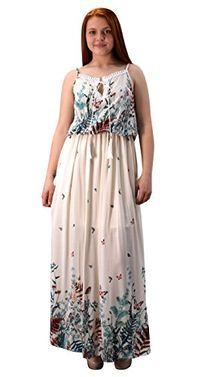 Cream Womens Summer Exotic Floral Bohemian Tahiti Sleeveless Maxi Dress Tie Neck