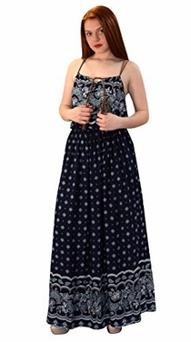Navy Blue Womens Summer Exotic Floral Bohemian Tahiti Sleeveless Maxi Dress Tie Neck