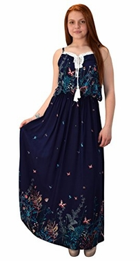 Navy Womens Summer Exotic Floral Bohemian Tahiti Sleeveless Maxi Dress Tie Neck Medium