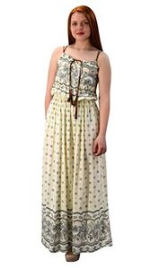 Off White Womens Summer Exotic Floral Bohemian Tahiti Sleeveless Maxi Dress Tie Neck