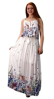 White Summer Exotic Floral Bohemian Tahiti Sleeveless Maxi Dress Tie Neck