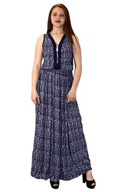 Navy Womens Summer Exotic Floral Bohemian Tahiti Sleeveless Maxi Dress Zippered