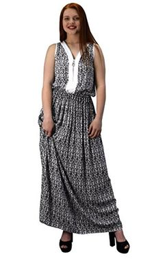 White Summer Exotic Floral Bohemian Tahiti Sleeveless Maxi Dress Zippered