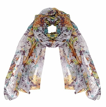 Orange Women's Summer Fashion Hibiscus Floral Lightweight Scarf